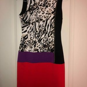 Calvin Klein Color Block Dress Leopard Print